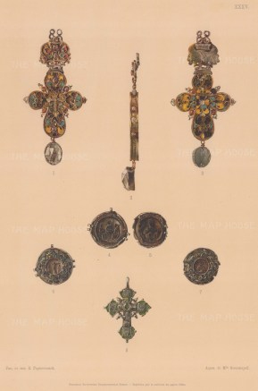 Orthodox Cross Enamel and Gold Pendant.