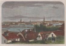 "Illustrated London News: Stockholm, Sweden. 1864. A hand coloured original antique wood engraving. 14"" x 10"". [SCANp339]"