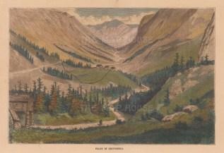 "Collins: Vestifiordla, Norway. A hand coloured original antique wood engraving. 7"" x 5"". [SCANp351]"