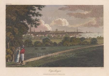 """Sherwood & Co.: Copenhagen, Denmark. 1809. A hand coloured original antique copper engraving. 7"""" x 5"""". [SCANp352]"""