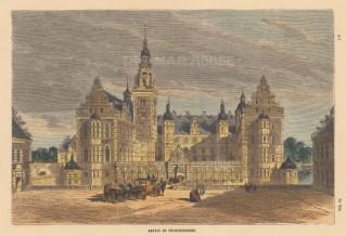 "Collins: Fredriksbourg Castle, Denmark. c1870. A hand coloured original antique wood engraving. 10"" x 7"". [SCANp357]"