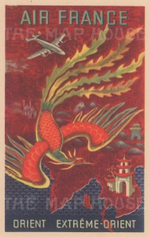Orient - Extreme Orient: Promotional postcard for Air France's routes to Asia and Southeast Asia by Lucien Boucher.