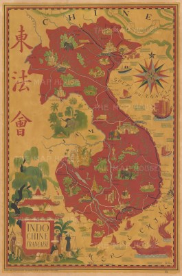 Indochine Francaise: Promotional poster by Lucien Boucher for the Association Nationale pour L'Indochine Francaise to advocate for continued French rule over Indochina after WW2.