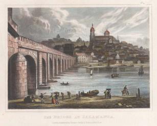 "Kelly: Salamanca, Spain. c1840. A hand coloured original antique steel engraving. 8"" x 6"". [SPp1034]"