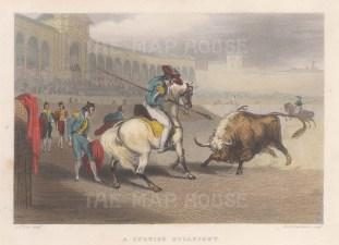 "Tylor: Bullfighting. 1839. A hand coloured original antique steel engraving. 6"" x 4"". [SPp1037]"