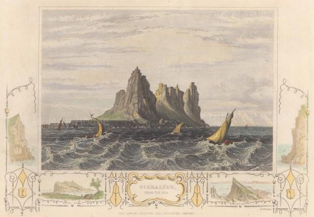 "London Printing Co.: Gibraltar. c1850. A hand coloured original antique steel engraving. 9"" x 7"". [SPp726]"