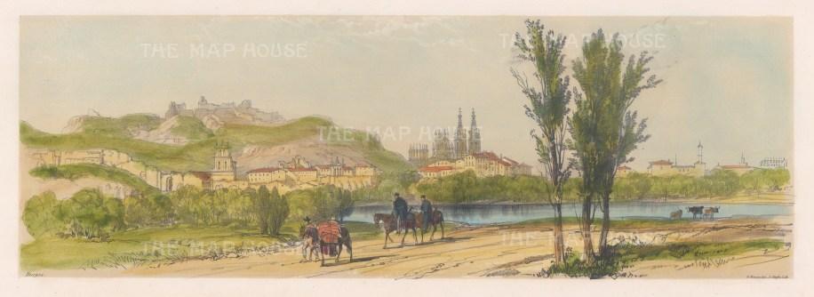 "Vivian: Burgos, Spain. 1838. An original colour antique lithograph. 15"" x 5"". [SPp858]"