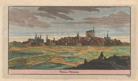 "van der Aa: Villa Vizosa, Spain. 1715. A hand coloured original antique copper engraving. 6"" x 5"". [SPp959]"