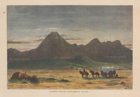 "Picturesque America: Lassen's Butte, Sacramento Valley. c1872. A hand coloured original antique wood engraving. 10"" x 7"". [USAp5042]"