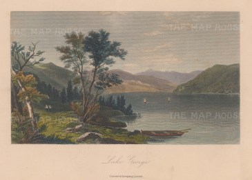 """Picturesque America: Lake George, New York. 1874. A hand coloured original antique steel engraving. 9"""" x 6"""". [USAp5043]"""