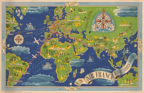 Reseau Aerien Mondial: Promotional poster for Air France by Lucien Boucher centred on Europe, Africa, and Asia, and showing the international air routes. [Framed]Promotional poster for Air France by Lucien Boucher centred on Europe, Africa, and Asia, and showing the international air routes.