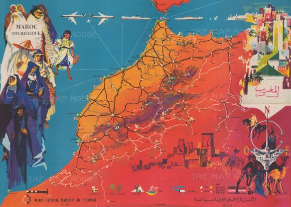 AFR6025 – Mantel: Maroc Touristique, 1958, 24 x 17 inches Vintage pictorial map of Morocco promoting tourism to Morocco, commissioned by the Morocco Tourist Office from the artist J. G. Mantel. Both French and Arabic feature on the map. Printed colour