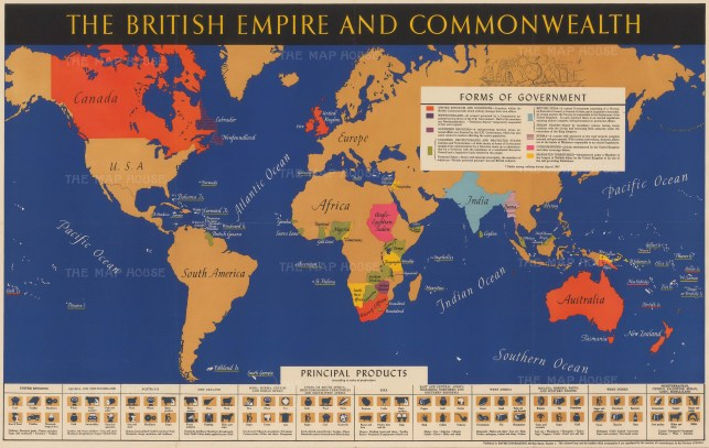 Wd 4327 empire information c1942 38 x 24 The British Empire and Commonwealth Unusual separately issued vintage world map on Mercator's Projection published during World War II detailing the areas comprising the British Empire and Commonwealth. Printed colour. [SL]
