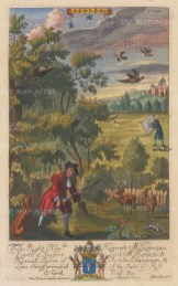 Introduced in the Restoration, a spaniel would stalk and hold or perch a pheasant for the gun. To the right is a gun with a 'cocking cloth', a type of hide.