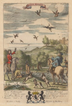 Herons being flushed by dogs to falcons. From Blome's important treatise on gentlemen's pursuits.