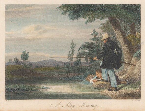 """Anonymous: May Morning. 1848. A hand coloured original antique steel engraving. 6"""" x 5"""". [FIELDp1394]"""