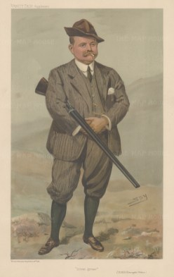 Major Reginald Rimington Wilson with his 12 bore. Renowned for a day's bag of 2500 grouse.