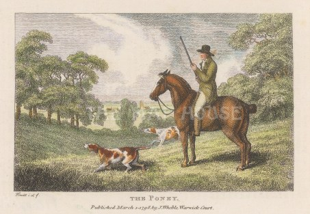 "Howitt: Shooting from a Poney. 1798. A hand coloured original antique copper engraving. 6"" x 4"". [FIELDp1560]"