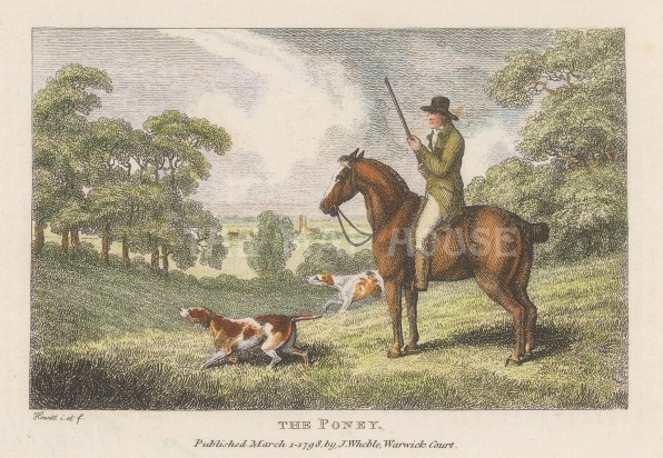 """Howitt: Shooting from a Poney. 1798. A hand coloured original antique copper engraving. 6"""" x 4"""". [FIELDp1560]"""