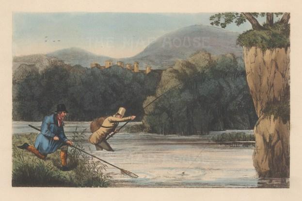 """Alken: Fly Fishing. 1899. An original colour antique aquatint. 9"""" x 6"""". [FIELDp759]"""