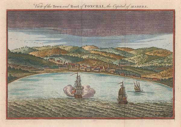 "Bankes: Funchal, Madeira. 1760. A hand coloured original antique copper engraving. 9"" x 6"". [AFRp1011]"