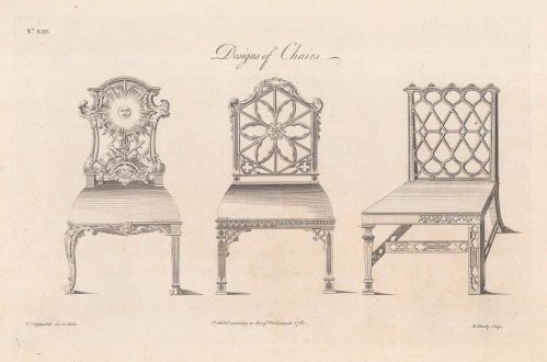 Designs of 3 Chairs. Plate XXV.