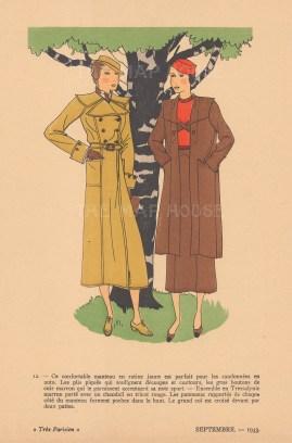 "Fashion Plate Pochoir: Tres Parisien. 1933. An original colour antique woodcut. 7"" x 10"". [DECp1463]"