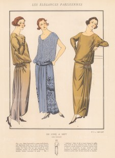 Doeuillet. De Cinq a Sept. Two views of an afternoon dress and the silver evening dress Libellule by the influential couturier.