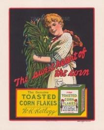 "Edwards & Deutsch: Kellogg's Corn Flakes. 1918. An original antique chromolithograph. 6"" x 7"". [DECp1492]"