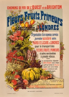 Advertisement for the freight company's new London route for perishables. After Gustave Fraipont.
