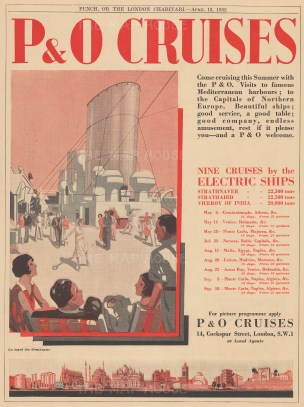 "Punch: P&O Cruises. 1932. An original vintage chromolithograph. 8"" x 11"". [DECp1658]"