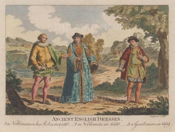 "Bankes: English Costume. c1780. A hand coloured original antique copper engraving. 7"" x 5"". [DECp178]"
