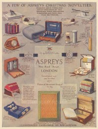 Christmas Novelties. Cases, shaving kit, poker chip stands, reference libraries, watches and clocks