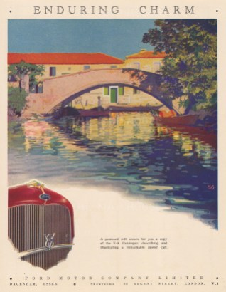 Ford Cars. 'Enduring Charm' slogan and river scene.