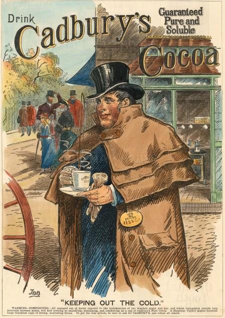 "Illustrated London News: Cadbury's Cocoa Essence. 1887. A hand coloured original antique wood engraving. 11"" x 15"". [DECp1862]"