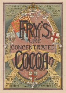 """Graphic Magazine: Fry's Pure Concentrated Cocoa. 1895. A hand coloured original antique wood engraving. 10"""" x 14"""". [DECp1863]"""