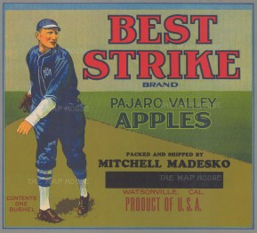 Fruit crate label for Californian apples.