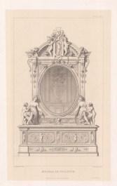 Vanity mirror with elaborate marble decoration.