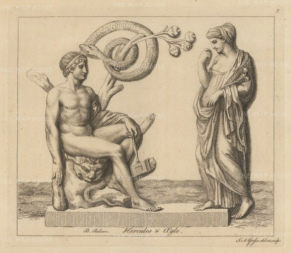 Heracles and Aigle. Heracles retrieves the golden apples guarded by Aigle nymph of the west and the dragon Ladon.