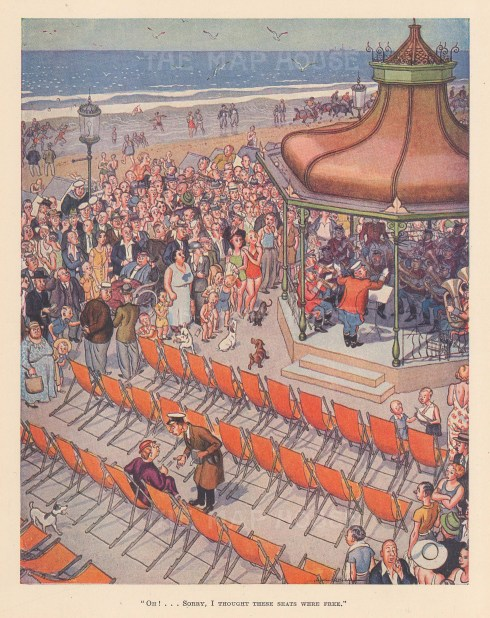 """Punch: Lady in the VIP section. 1938. An original vintage chromolithograph. 7"""" x 10"""". [DECp2156]"""