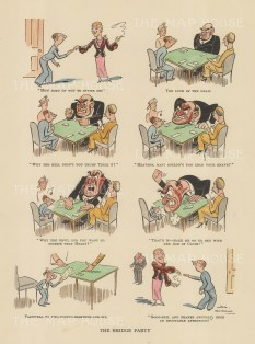 """Bateman: The Bridge Party. c1930. A hand coloured original vintage lithograph. 10"""" x 12"""". [DECp2159]"""