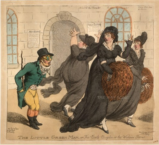 The Little Green Man or The Bath Bugaboo. Henry Cope, an eccentric from Bath who always dressed in green, only ate green vegetables and even had green furniture, was known for trying to engage fashionable ladies in conversation.