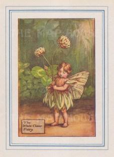 "Barker: White Clover Fairy. 1927. An original vintage chromolithograph. 3"" x 4"". [DECp2210]"