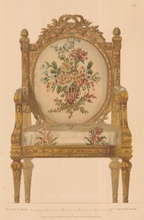 Russian Imperial Collection. Gilded Cabriolet chair with floral tapestry.