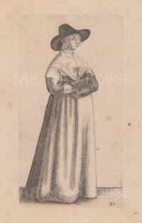 A woman with wide brimmed hat, wearing a shawl tied with a bow.