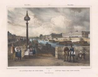 "Benoit: Louvre from Pont Neuf. c1860. A hand coloured original antique lithograph. 16"" x 12"". [FRp1250]"