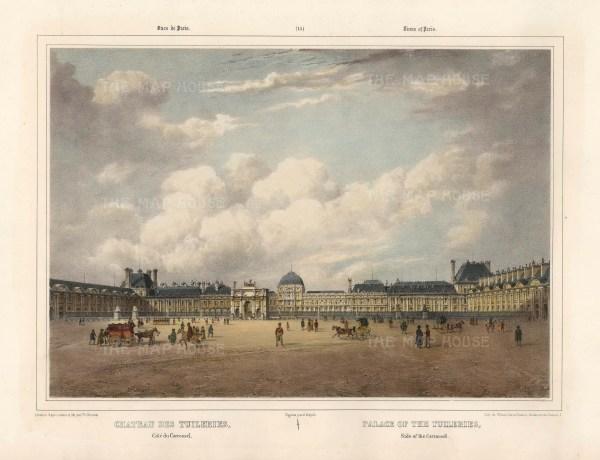 """Benoit: Chateau des Tuileries. c1860. A hand coloured original antique lithograph. 16"""" x 12"""". [FRp1611]"""