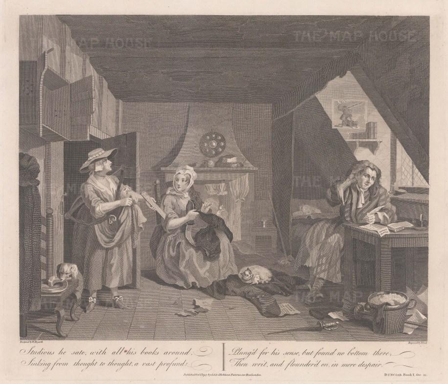 Book I line III. Domestic scene of garret poverty.