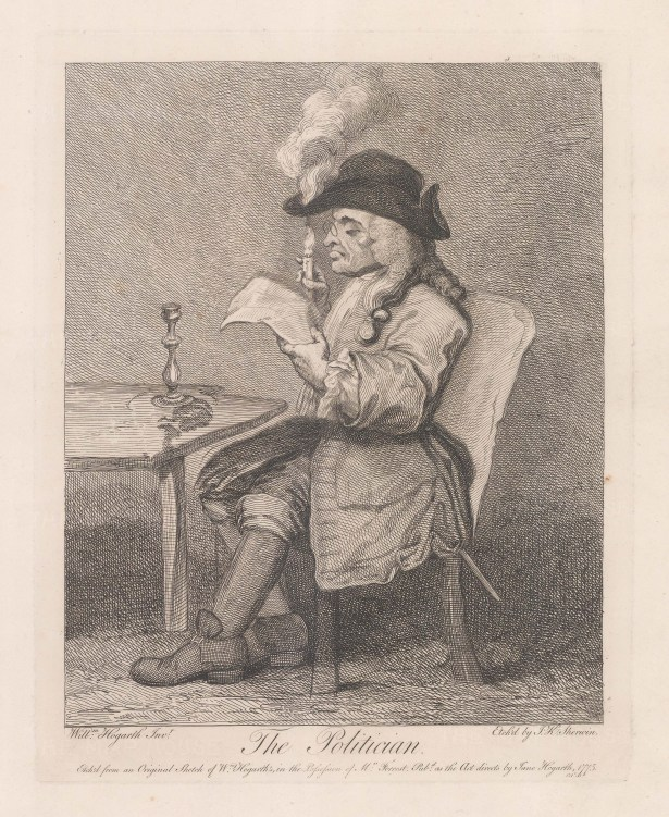 Originally executed for Ebenezer Forrest (d. 1783). A politician sits at a table so engrossed with his newspaper he fails to notice that his hat has caught fire.
