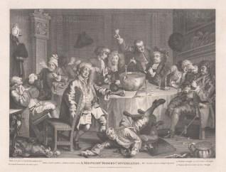 "Hogarth: Midnight Modern Conversation. 1798. An original antique copper engraving. 18"" x 14"". [MISCp5383]"